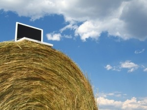 Laptop on Hay Bale