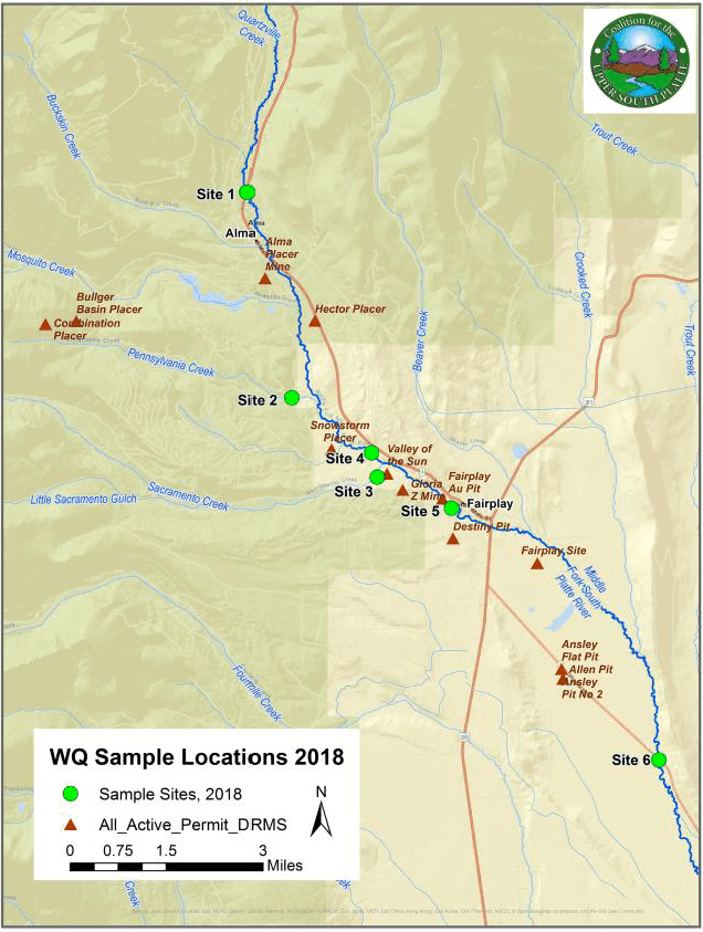 Coalition of the Upper South Platte 2018 mine water quality map