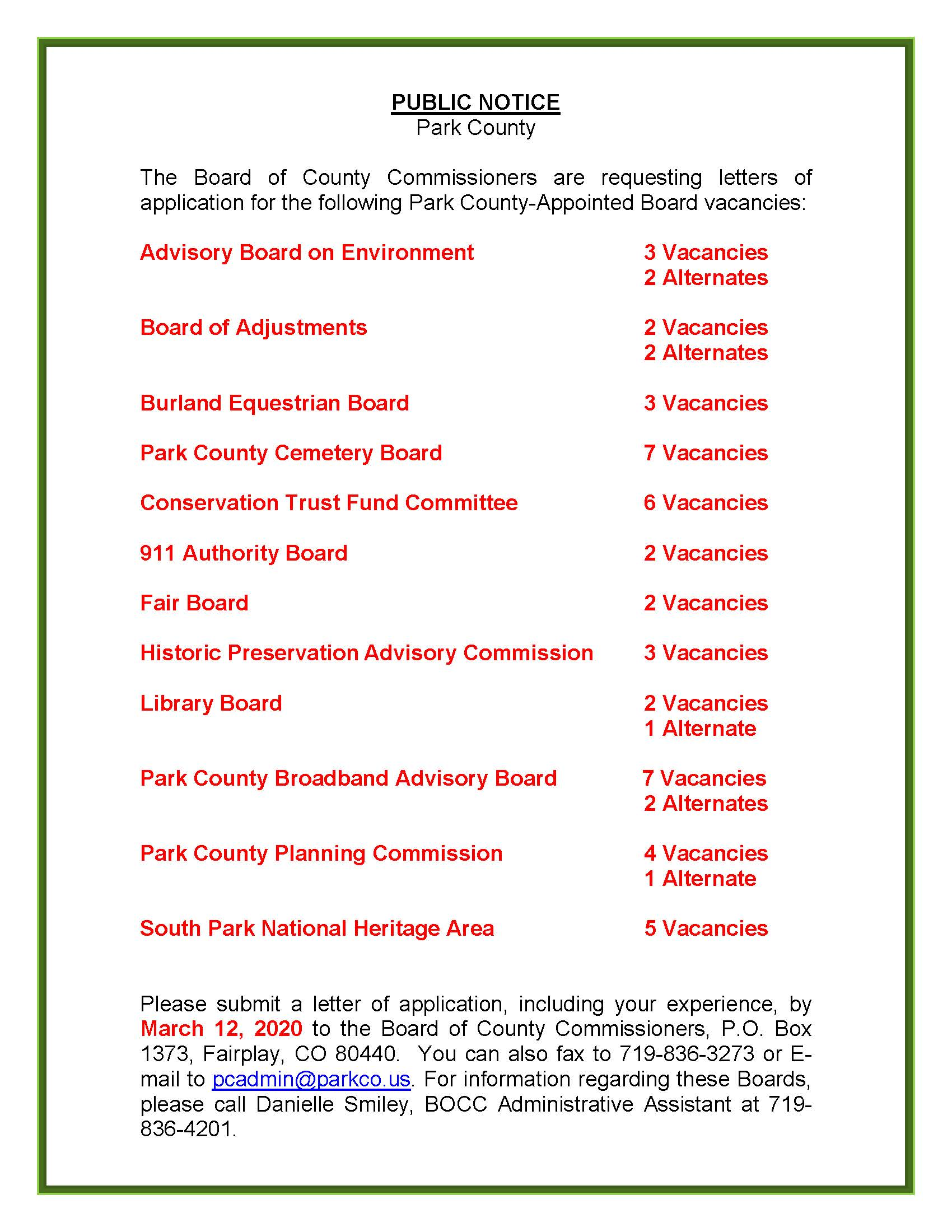 County Appointed Board Vacancies